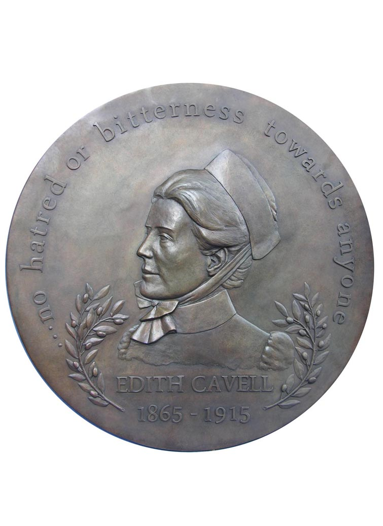 Edith Cavell, bas relief, diameter 700mm, bronze, edition of 6
