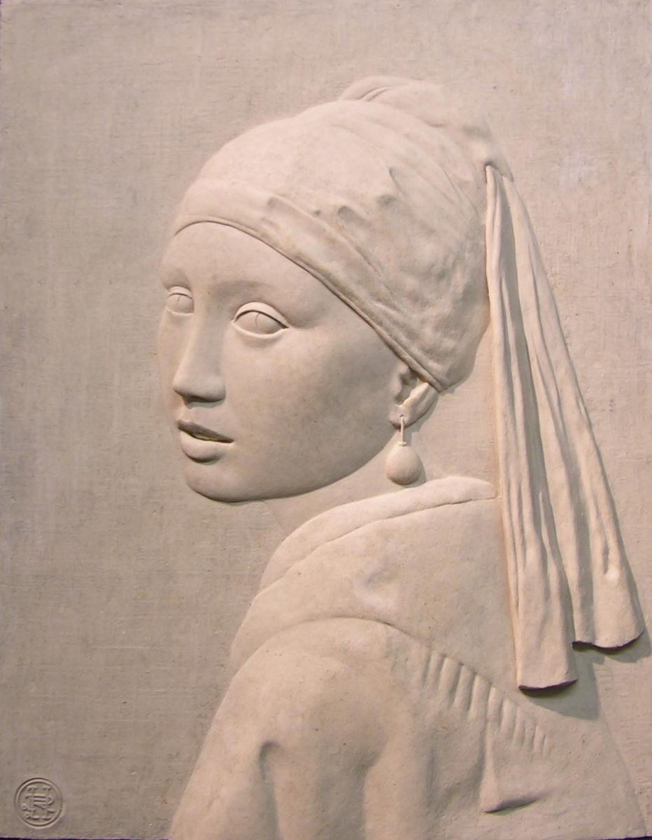Girl with a Pearl Earring, bas relief 34mm x 270mm, jesmonite,bronze resin or bronze, edition of 20
