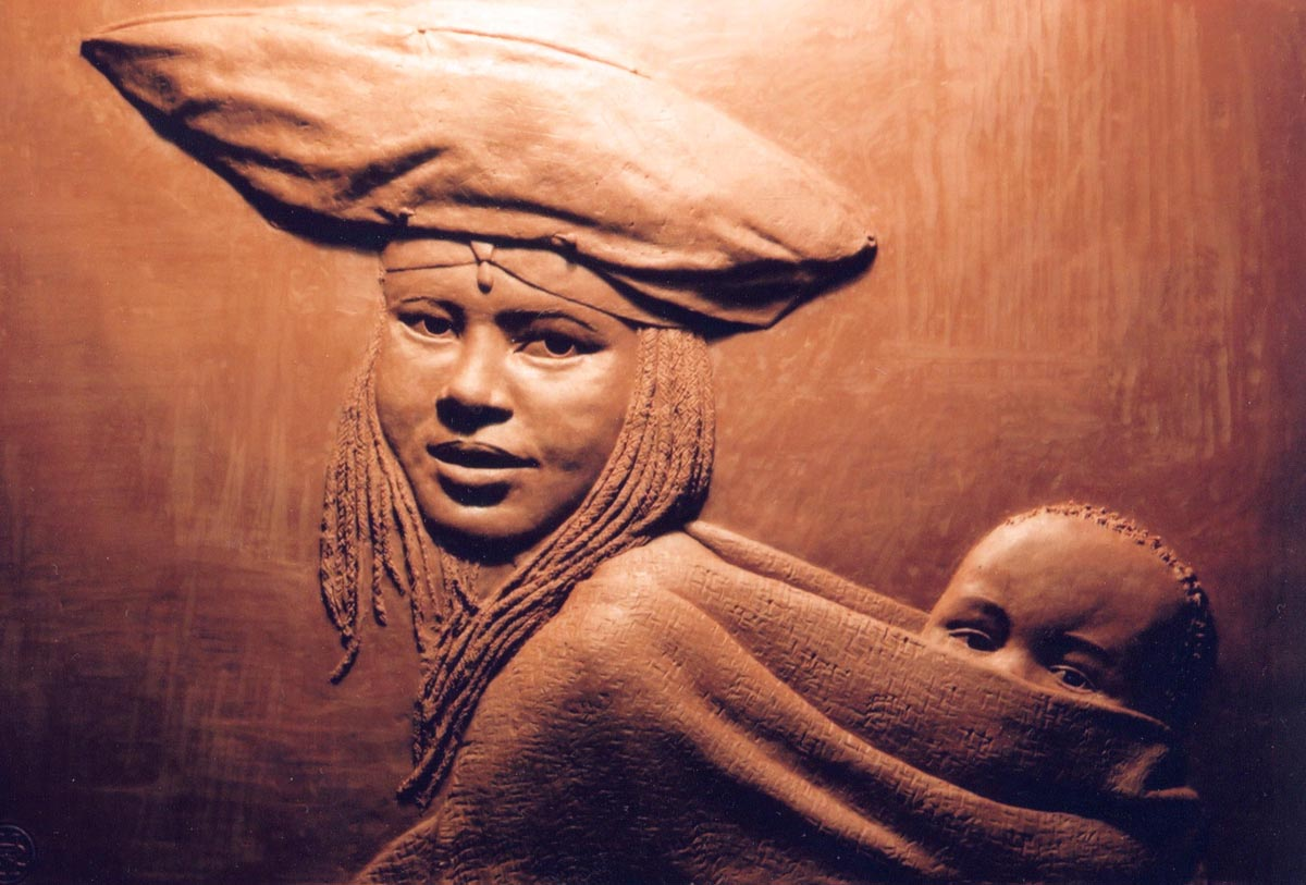 Herero Mother and Child, bas relief, 300mm x 400mm, bronze resin, edition of 20