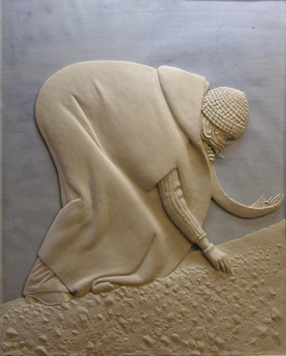 Shell collector, bas relief, 400mm x 500mm, jesmonite, edition of 20
