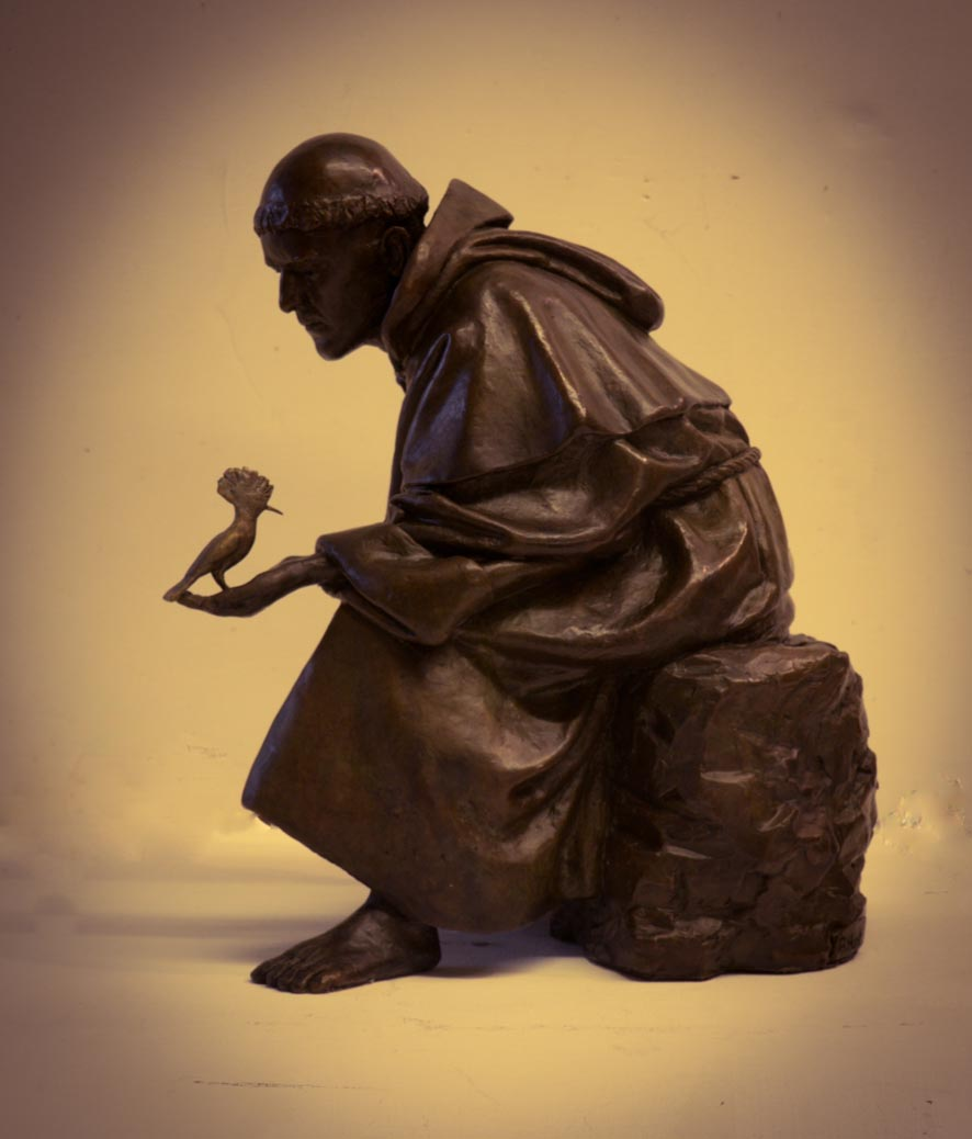 St Francis and the Hoopoe, qtr lifesize, bronze, edition of 25_1