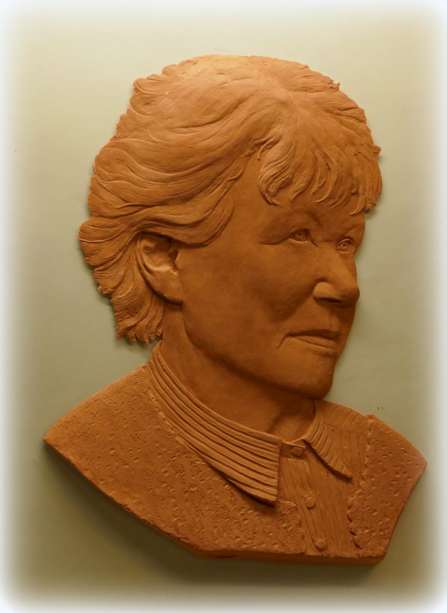 author Penelope Fitzgerald, bas relief, 300mm x 420mm, bronze, edition of 9
